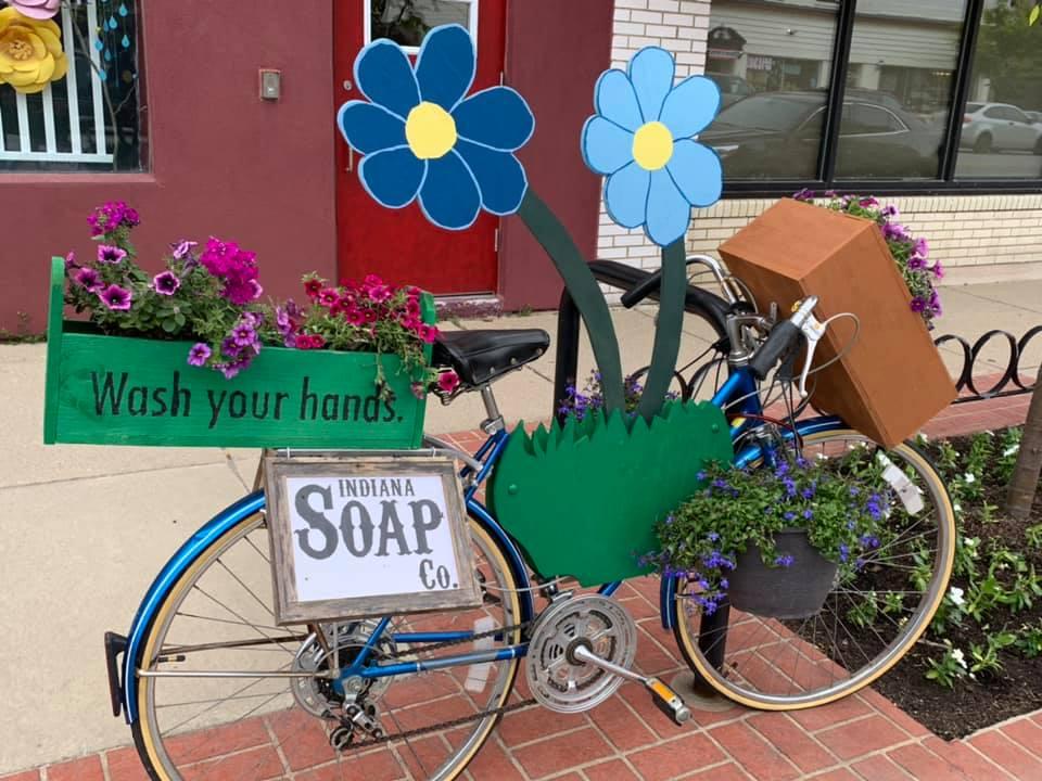 Greenfield Main Street Bikes in Bloom